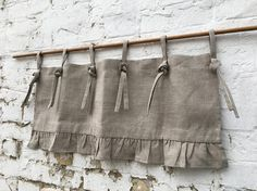 Linen Curtains French Country Chic Cottage Ruffle Valance
