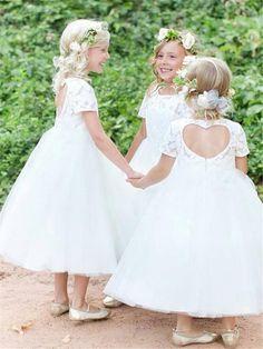 0db5186c6e41 $74.29 Dresswe.com SUPPLIES Bateau Neckline Short Sleeves Lace Tea-Length  Flower Girl Dress