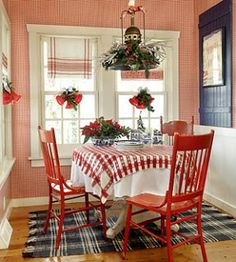 The Jewel Box Home: Christmas Cottages! Love the look , old chairs painted red , dish towels hung over a rod for valances . Sweet and cheap !
