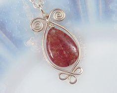 Indian Aventurine & Sterling Silver Celtic Necklace, Raspberry Pendant, Argentium wire, Celtic Necklace, Teardrop Gemstone, Translucent