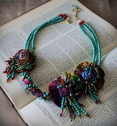 CUSTOM FOR JOANNE Turquoise Beaded Fabric Statement Necklace   ? 200€