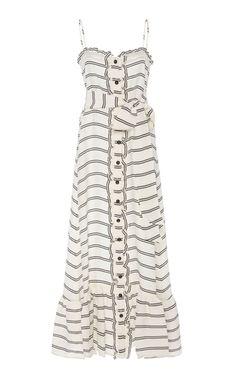 Conocimiento Metaforico Striped Silk-Taffeta Maxi Dress by Johanna Ortiz Fashion Dresses, Women's Fashion, Silk Taffeta, Midi Shirt Dress, Carolina Herrera, Libra, Blue Dresses, Floral Prints, Women Wear
