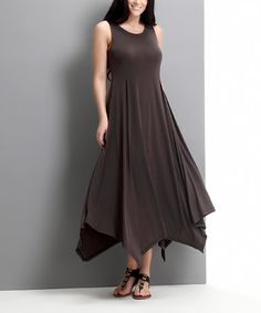 Charcoal Handkerchief Maxi Dress - Plus by Reborn Collection #zulily #zulilyfinds