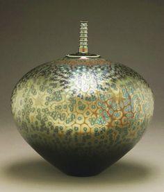 Covered jar with green crystalline glaze by Hideaki Miyamura.  http://www.miyamurastudio.com