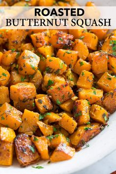 Roasted Butternut Squash with Garlic and Herbs: Roasted Butternut Squash is an essential, healthy fall side dish! It has a mildly sweet, slightly nutty, buttery flavor and a delicious creamy texture. Side Dish Recipes, Veggie Recipes, Vegetarian Recipes, Cooking Recipes, Healthy Recipes, Pumpkin Recipes Side Dish, Cooked Vegetable Recipes, Vegetable Bake, Vegetable Meals