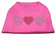 Peace Love and Paw Rhinestone Shirt Bright Pink M (12)
