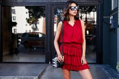 VivaLuxury - Fashion Blog by Annabelle Fleur: FREE SPIRIT - STORETS Free Sprit two-piece set in red | ONE by Cornetti Innamorati Heart gladiator sandals | ILLESTEVA Boca mirrored sunglasses | THE KOOPLES minibox bag in embossed python style leather | ADORNMONDE jewelry August 24, 2015