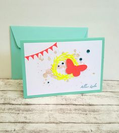 Glückwunschkarten - Geburtstagskarte NEON Schmetterling & Kranz - ein Designerstück von POMMPLA bei DaWanda