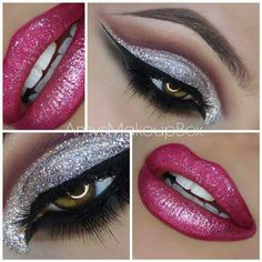 Glittery makeup eyes and lips