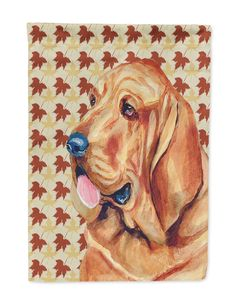 Bloodhound Fall Leaves Portrait Flag Garden Size
