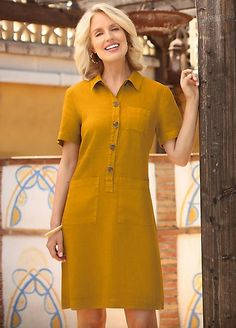 Pomodoro Linen Shirt Dress