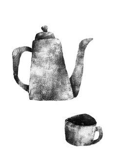Yuzuke Yonezu 米津祐介のホームページ Coffee Artwork, Tea Illustration, Cafe Art, Tea Art, Food Illustrations, Gravure, Art Plastique, Ink Color, Art Sketchbook