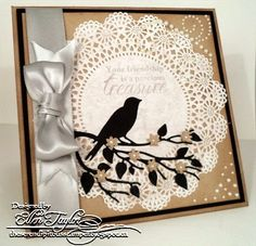 Doily paired with Bird on limbs die cuts...card
