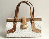 white wicker handbag / 60s 1960s Simon purse / white woven handbag / leather trim woven purse / vintage purse