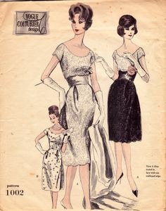 50s Vogue Couturier Design 1002 Rare Wedding Dress Slip & Stole Vintage Sewing Pattern Size 14 Bust 34 inches