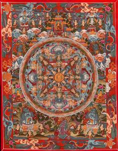 The mandala above is from my small collection of Tibetan Art. I bought it some years ago from a Tibetan shop in Puttaparthi. This Mandala took three months to paint. Although it is Tibe… Buddha Buddhism, Tibetan Buddhism, Buddhist Art, Chinese Buddhism, Tibetan Mandala, Tibetan Art, Thangka Painting, Mandala Painting, Mandala Drawing