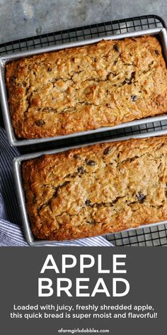 recipe Apple Bread from afarmgirlsdabbles. - A quick and easy apple bread recipe that's loaded with shredded apples, ensuring moist, delicious fresh apple flavor and texture in every bite! Apple Cake Recipes, Quick Bread Recipes, Apple Desserts, Banana Bread Recipes, Sweet Recipes, Apple Nut Bread Recipe, Apple Pie Bread, Apple Pie Cake, Baked Recipes With Apples