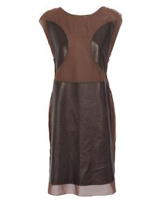 Coffee colored chiffon dress - Bottega Veneta