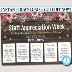 EDITABLE Staff Appreciation Week Itinerary Poster, Digital File, Appre – TidyLady Printables