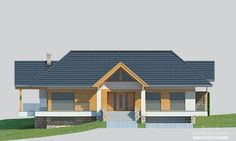 Projekty domów LK Projekt LK&1116    elewacja 1 Cottage Style House Plans, My House Plans, Architectural House Plans, Modern House Design, Shed, Farmhouse, Outdoor Structures, Cabin, Mansions