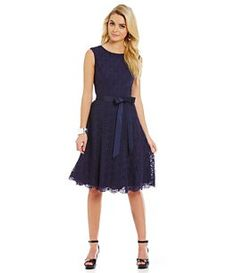 Alex Marie Berry Blast Bijoux Tie-Waist Lace Dress