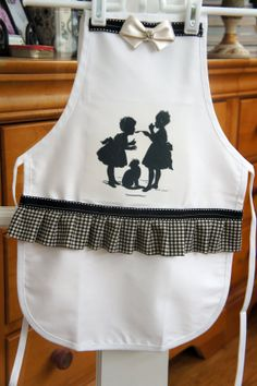 Little Girls Silhouette Apron - Black and White