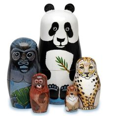 """Bits and Pieces - Endangered Species Hand Painted Wooden Nesting Dolls - Matryoshka - Set of 5 Dolls From 5.5"""" Tall"""
