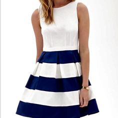 Blue and white striped dress Very classy fit/flare dress. Will be steam pressed before shipping. Dresses Mini