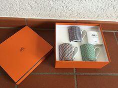 Original HERMÈS Hermes Coffee Beaker Set of 3 in Box Motiv Tie Set NEW 2