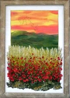Gilda Baron Embroidered Landscapes gallery - Love how she adds gorgeous embroidered flowers to her paintings!