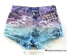 rainbow denim shorts