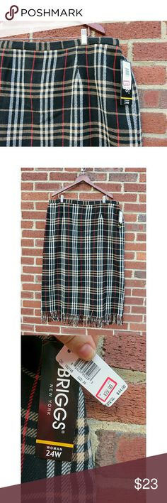 NWT Brigg's Plus Tartan Plaid Fringe Midi Skirt +New with tags and never worn from Brigg's New York, plus size 24W. Beautiful tartan plaid midi length skirt (ankle length) with a super cool fringe. Classic plaid pattern that looks like Burberry-- black with khaki/tan, cream, and red. Acrylic/polyester/wool blend and fully lined. +Your purchase helps support local & national charities, and I'm a veteran reseller, fashion consultant, and SAHM. Thanks so much! --Jen Brigg's Skirts Midi