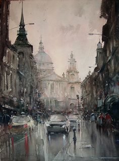 Dusan Djukaric, St Pauls Cathedral, Watercolour, 75x55cm