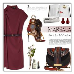 """Untitled #2056"" by deeyanago ❤ liked on Polyvore featuring Salvatore Ferragamo, Rizzoli Publishing, Dsquared2 and marsaladress"