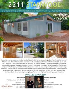 2 NEW LISTINGS OPEN THIS THURSDAY & SUNDAY 5 Bedroom  3 Bathroom Ranch Style Home with 1/1 Guest House   Open this Thursday 10:30-1:30 & Sunday 2-4 2211 Stanwood Dr  www.SBGetaway.com Offered at $1,895,000  805-689-0532 #JonMahoney #SantaBarbara #RealEstate