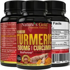 PREMIUM Turmeric Curcumin 1500mg/serving With BioPerine Black Pepper Extract.  Picture: eBay affiliate link