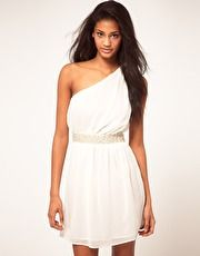 ASOS One Shoulder Dress With Pearl Trim