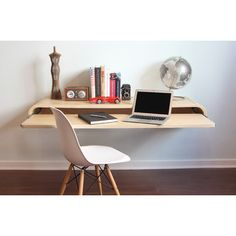 Home Office: Floating Wall Desk. This floating wall desk caught my eye and would make a great desk for a home office. Office Furniture, Home Furniture, Furniture Design, Smart Furniture, Furniture Websites, Furniture Ideas, Folding Furniture, Furniture Vintage, Furniture Storage