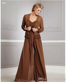 Autumn New Chiffon Plus Size Long Sleeves Mother of the Bride Pants Suits with Jacket And Square Neckline Spagetti Applique BeadsCustom Made, $108.38   DHgate.com