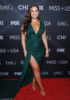 Evergreen: 29-year-old Ashley showcased her size 14, 5ft9in curvaceous figure in a plunging emerald gown and gold stilettos selected by her stylist Oscar Montes de Oca
