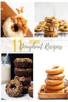 11 of the best vegan donuts you've ever seen! With chocolate, citrus, and the flavors of maple and cinnamon, these donut recipes will have you covered year around! #mydarlingvegan #vegandonuts #veganreciperoundups #vegandesserts #veganpastry