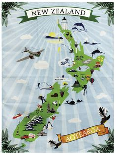 Maptitude - – New Zealand illustrated - Maori Tattoos, Marquesan Tattoos, New Zealand Tattoo, New Zealand Art, Travel Maps, Travel Posters, Nz History, New Zealand Travel Guide, Kiwiana