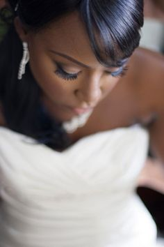 African American Wedding, bridal makeup, black brides, wedding makeup, wedding dress, bridal portrait www.JamayaMooreWeddingMakeup.com