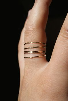 ultra thin gold stacking rings by hannahnaomi, $34