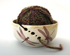Yarn Bowl Dragonfly Hand Thrown Ceramic Stoneware by JustMare, $40.00