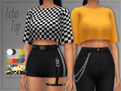 trillyke: Echo Top Loose, cropped top in solids and some fun. - The Sims 4 CC - Mod Sims Free Custom Contents or Mods for The Sims Games Mods Sims 4, Sims 4 Game Mods, Sims 4 Mods Clothes, Sims 4 Clothing, Cropped Tops, Vêtement Harris Tweed, Sims 4 Tsr, Sims 4 Collections, Sims 4 Gameplay