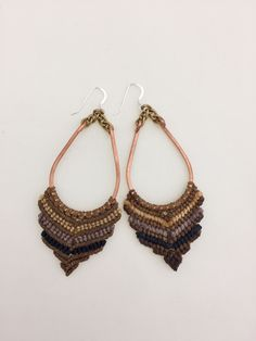 Smokey Earth Macrame Earrings