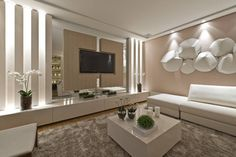 Casa Cor PR 2012 : Salas de estar modernas por Rolim de Moura Arquitetura e Interiores Living Room Tv, Double Vanity, Mirror, Wall, Furniture, Home Decor, Nova, Design Ideas, Moldings