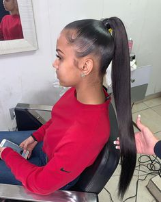 45 Brilliant Women Hairstyles Ideas With Ponytail To Try Asap - All For Hairstyles DIY Long Ponytail Hairstyles, Hair Ponytail Styles, Twist Hairstyles, Straight Hairstyles, Curly Hair Styles, Natural Hair Styles, Long Ponytail Weave, Kinky Hairstyles, Hairstyles 2016