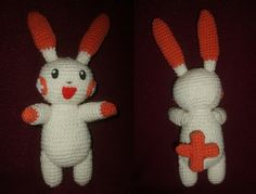 Pokemon Amigurumi: this is my goal! Plusle and Minun. Pokemon Crochet Pattern, Pikachu Crochet, Plush Pattern, Crochet Toys Patterns, Amigurumi Patterns, Stuffed Toys Patterns, Crochet Crafts, Crochet Dolls, Crochet Projects